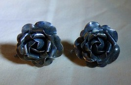 LOVELY Vintage 1940s-50s Sterling Silver Figural Rose Earrings - $35.00