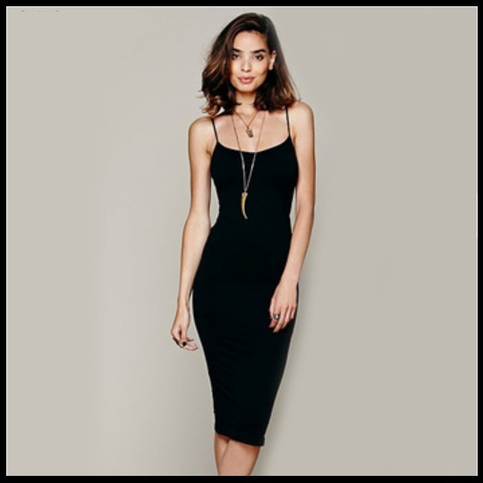 Simple Elegance Black Spaghetti Strap Midi Sheath Summer's Eve Dress