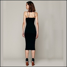 Simple Elegance Black Spaghetti Strap Midi Sheath Summer's Eve Dress image 2