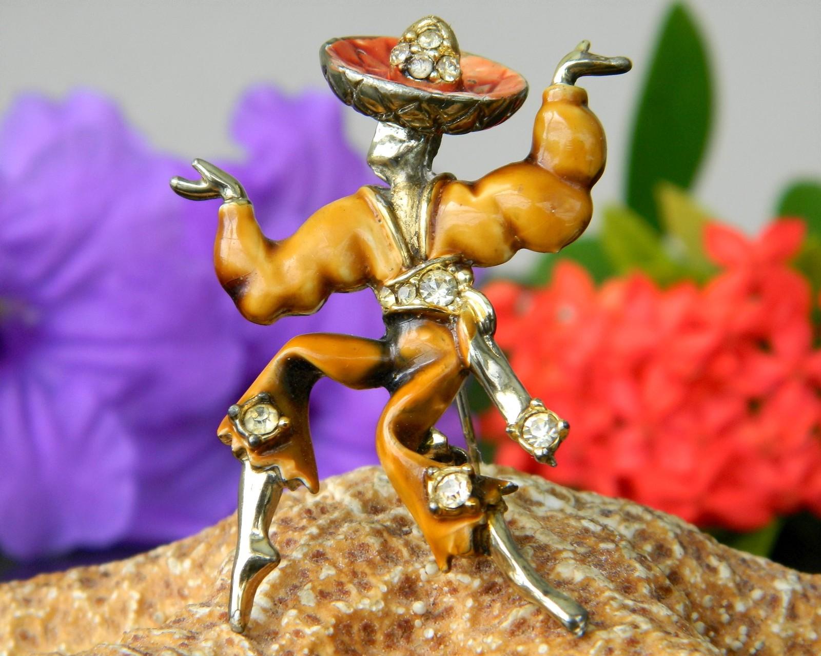 Vintage Rumba Flamenco Spanish Dancer Brooch Pin Enamel Rhinestones - $14.95