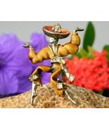 Vintage Rumba Flamenco Spanish Dancer Brooch Pin Enamel Rhinestones - £11.50 GBP