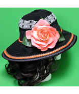 New Black & White Hand-Decorated Women's Polyester Sun Hat With Large Rose - $8.95