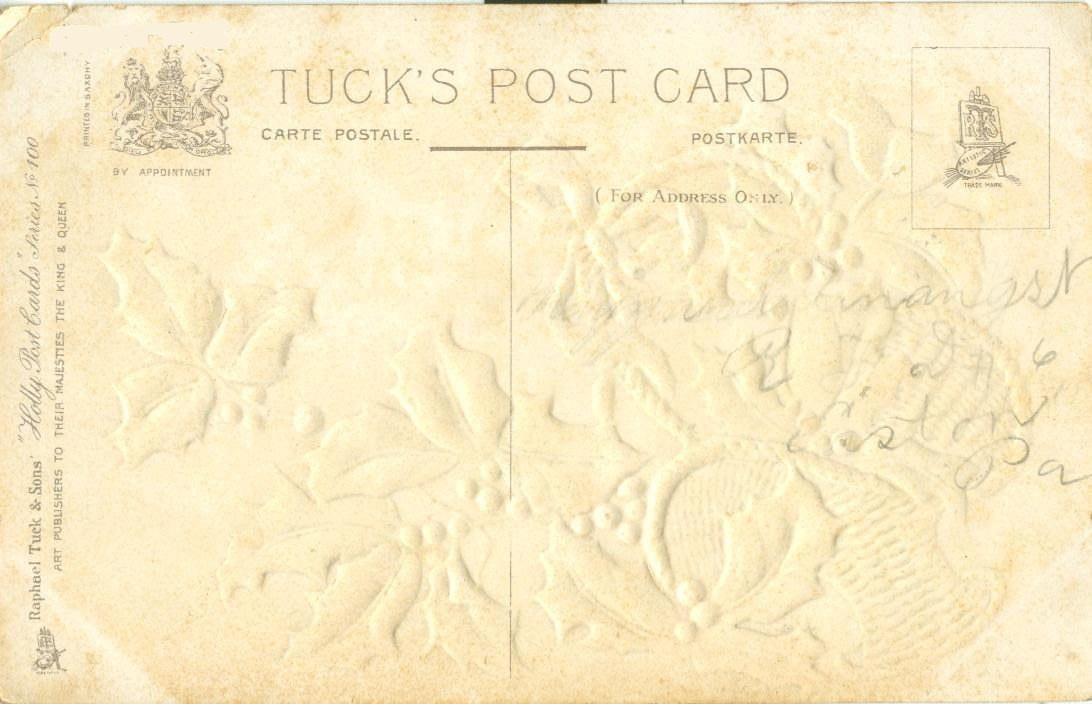 With Every Good Wish for Christmas, early 1900s used Postcard