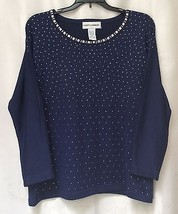 Cathy Daniels Elegant Navy Blue w/Silver Metal Embellishment Knit Top SZ... - $9.89