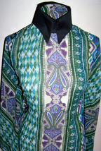 EMERALD & TEAL SEMI-SHEER NON STRETCH POLYESTER... - $36.00