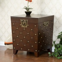 Trunk End Table Storage Unique Living Room Expresso Brass Nail Head Lamp... - $174.19