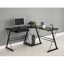 Corner Computer Desk 3Piece Black With Black Gl... - $172.32