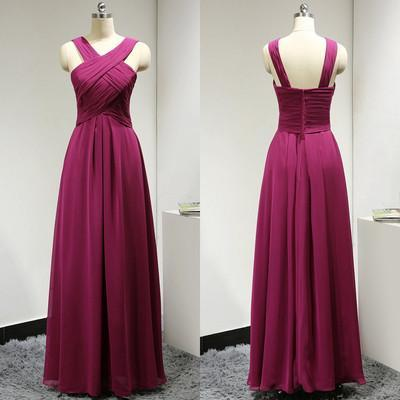 fuchsia bridesmaid dress,long bridesmaid dress,chiffon bridesmaid dresses