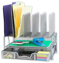 Silver Mesh Desk Organizer with Sliding Drawer, Double Tray and 5 Uprigh... - $47.07