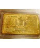1973 Columbus Mint Columbus Day Bronze Metal Art Bar Bullion Santa Maria... - $78.21