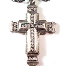 Cross Pendant Necklace Clear Crystal Pewter Tone Metal Spiritual Theme - $19.99