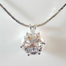 CZ Round Solitaire 6 Prong Pendant Necklace Silver Tone Metal New Unused - $14.99