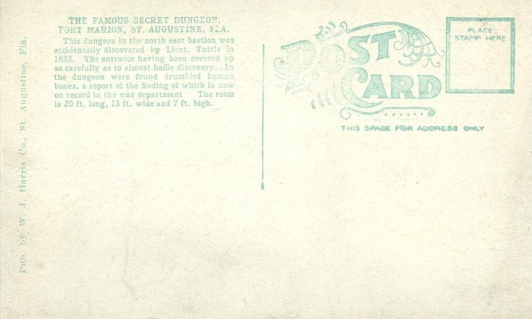 The Famous Secret Dungeon, Port Marion, St Augustine, Florida, unused postcard