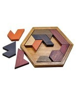 Kids Puzzles Wooden Toys Tangram/Jigsaw Board Geometric Shape Child Educ... - $7.69