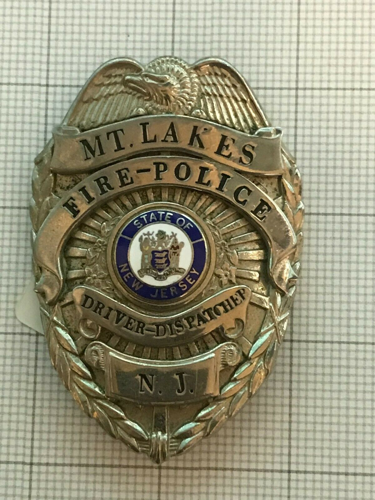 Primary image for Antique Obsolete Mt. Lakes New Jersey Driver Dispatcher Fire Badge