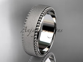 14kt white gold matte finish classic wedding band, engagement ring ADLR380G - $950.00