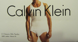 3 GENUINE CALVIN KLEIN SIZE SMALL COTTON WHITE RIB TANK T-SHIRT / UNDERS... - $32.90