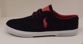 Polo Ralph Lauren Mens Size 17 Black Cordura/Leather Fashion Sneaker Shoe Faxon - $69.46 CAD