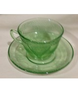 Cup and Saucer Depression Glass Green Georgian Lovebirds by Federal Glass - $9.75