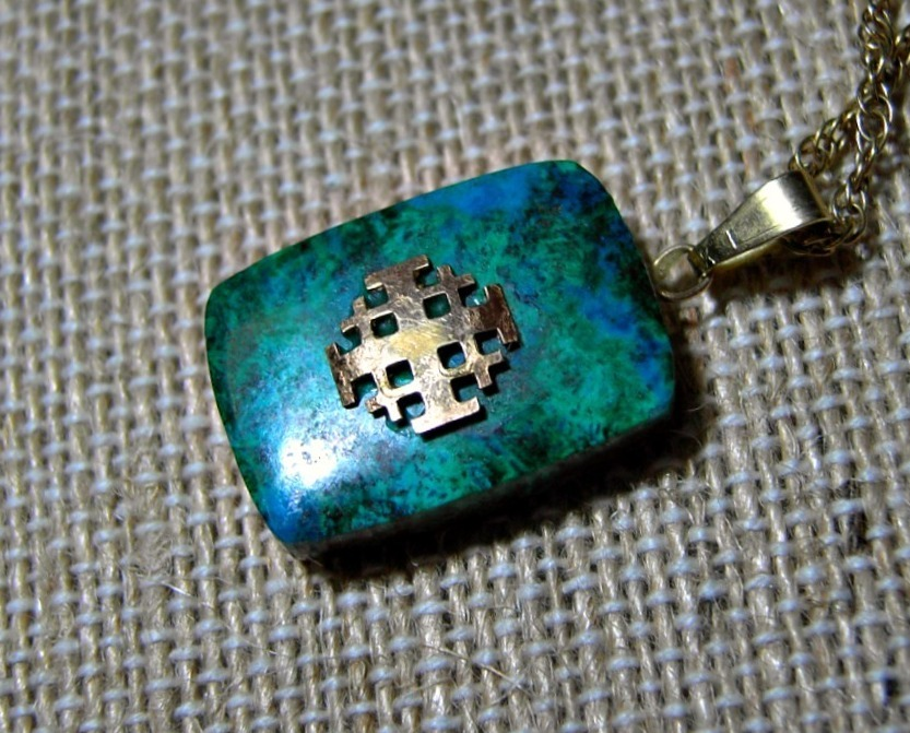 14k gold azuritemalachite jerusalem cross pendant