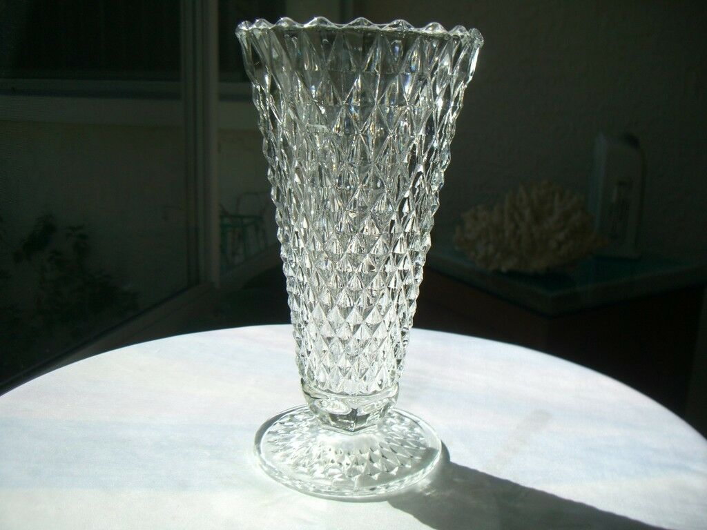 "Primary image for Indiana Glass Diamond Point Clear 8"" Flower Vase  c1960's"