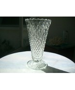 "Indiana Glass Diamond Point Clear 8"" Flower Vase  c1960's - $24.74"