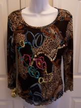 A.Z.I Women's Top Med Multi-Color 3/4 Sleeve Embellished Semi-Sheer Scoo... - $10.99