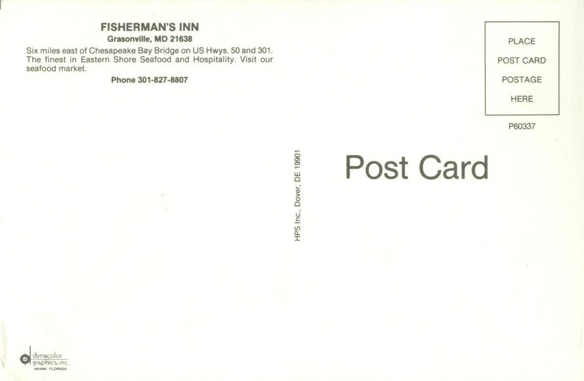 Fisherman's Inn, Grasonville, MD, unused Postcard