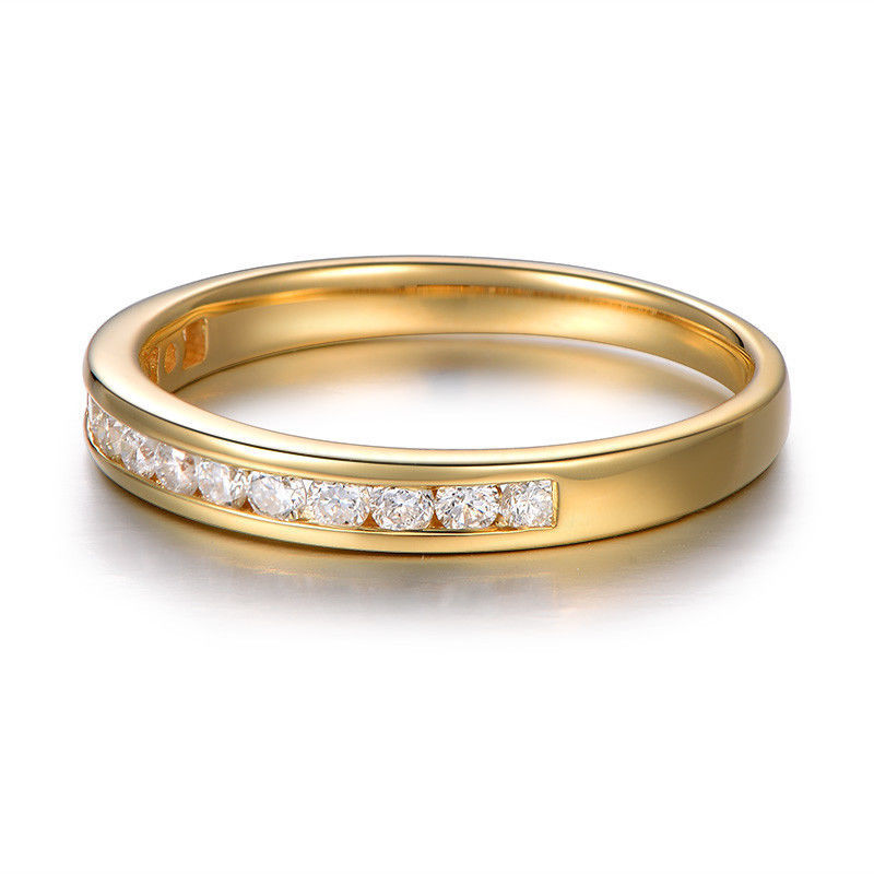 Engagement Rings Vs Wedding Bands: Channel Set VS Diamond Wedding Band,18K Yellow Gold