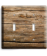 WORN OUT OLD RUSTIC WOOD DOUBLE LIGHT SWITCH WA... - $11.99