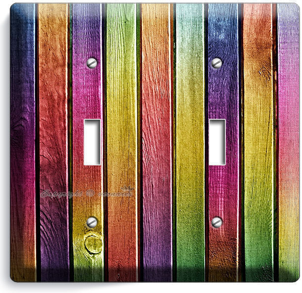 COLORFUL RAINBOW PLANKS WOOD DOUBLE LIGHT SWITCH WALL PLATE KITCHEN CABIN DECO
