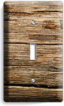 WORN OUT OLD RUSTIC WOOD SINGLE LIGHT SWITCH WALL PLATE KITCHEN LOG CABI... - $8.99