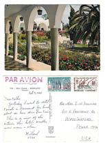 Tunisia Hammamet Hotel Fourati Garden Walk Vintage 1965 Postcard 4X6 Stamps - $4.99