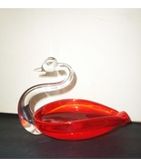 Vintage Art Glass Orange Swan Dish Mid Century ... - $24.99