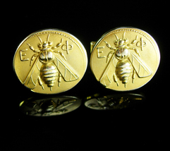 Epsilon Phi Cufflinks FLY Vintage Fraternal Gold insect fraternity Birthday Anni - $125.00
