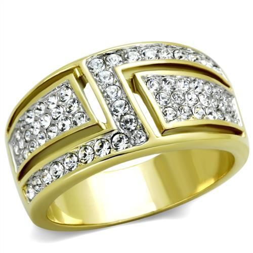 WOMEN'S TWO TONE STAINLESS STEEL PAVE CRYSTAL FASHION WIDE BAND RING SIZE 10