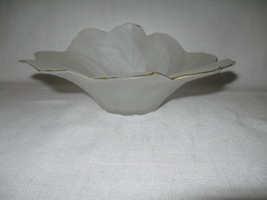 Glass White Frosted Satin Gold Rim Inward Stretch Ruffled Edge Compote C... - $9.95