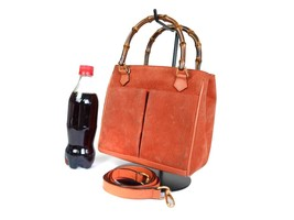 Authentic GUCCI Bamboo Suede Leather Orange Hand Bag GS16855L - $219.00