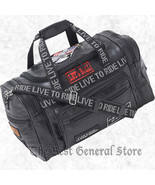 "17"" Black Leather LIVE TO RIDE Biker Duffle Gym Bag Tote Carry On Motorc... - $34.94"