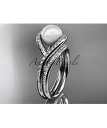 Platinum diamond pearl unique engagement set, wedding ring AP383S - $3,250.00