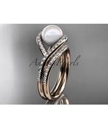 14kt rose  gold diamond pearl unique engagement set, wedding ring AP383S - $2,500.00