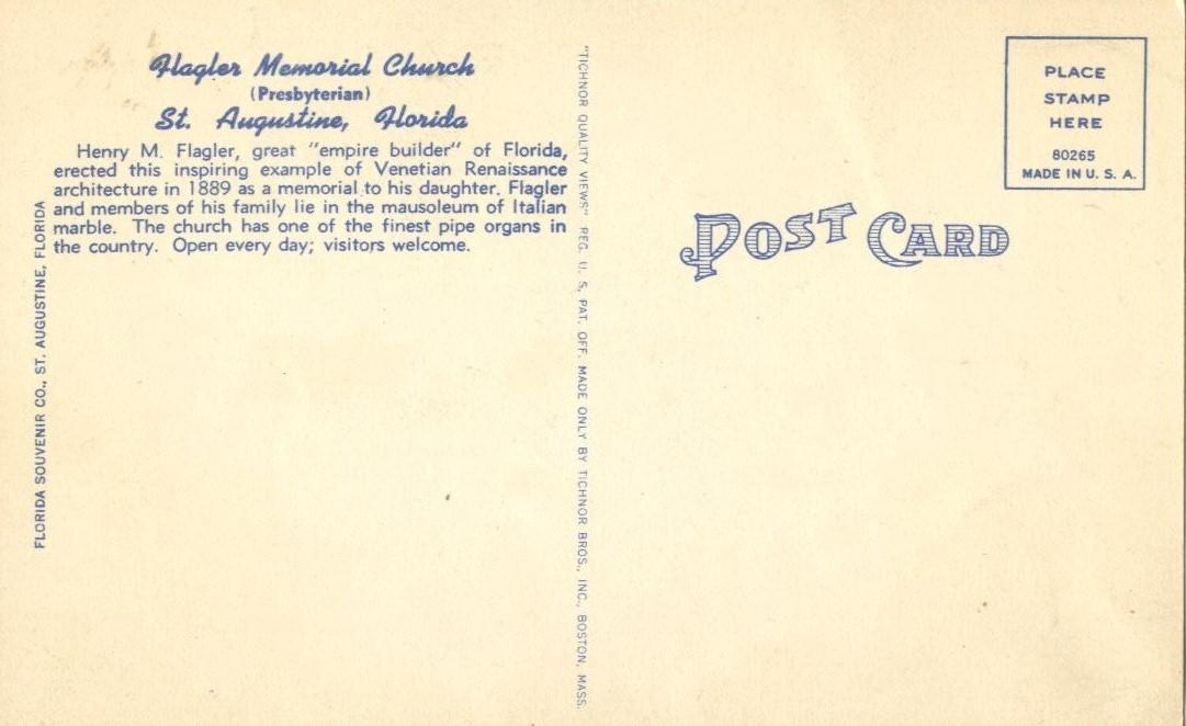 Flagler Memorial Church, Saint Augustine, Florida, unused linen Postcard