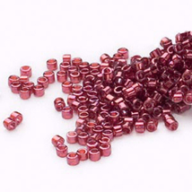 Miyuki Delicas 11/0, Tr Gold Luster Rust 116, 50g glass delica beads, red - $20.25