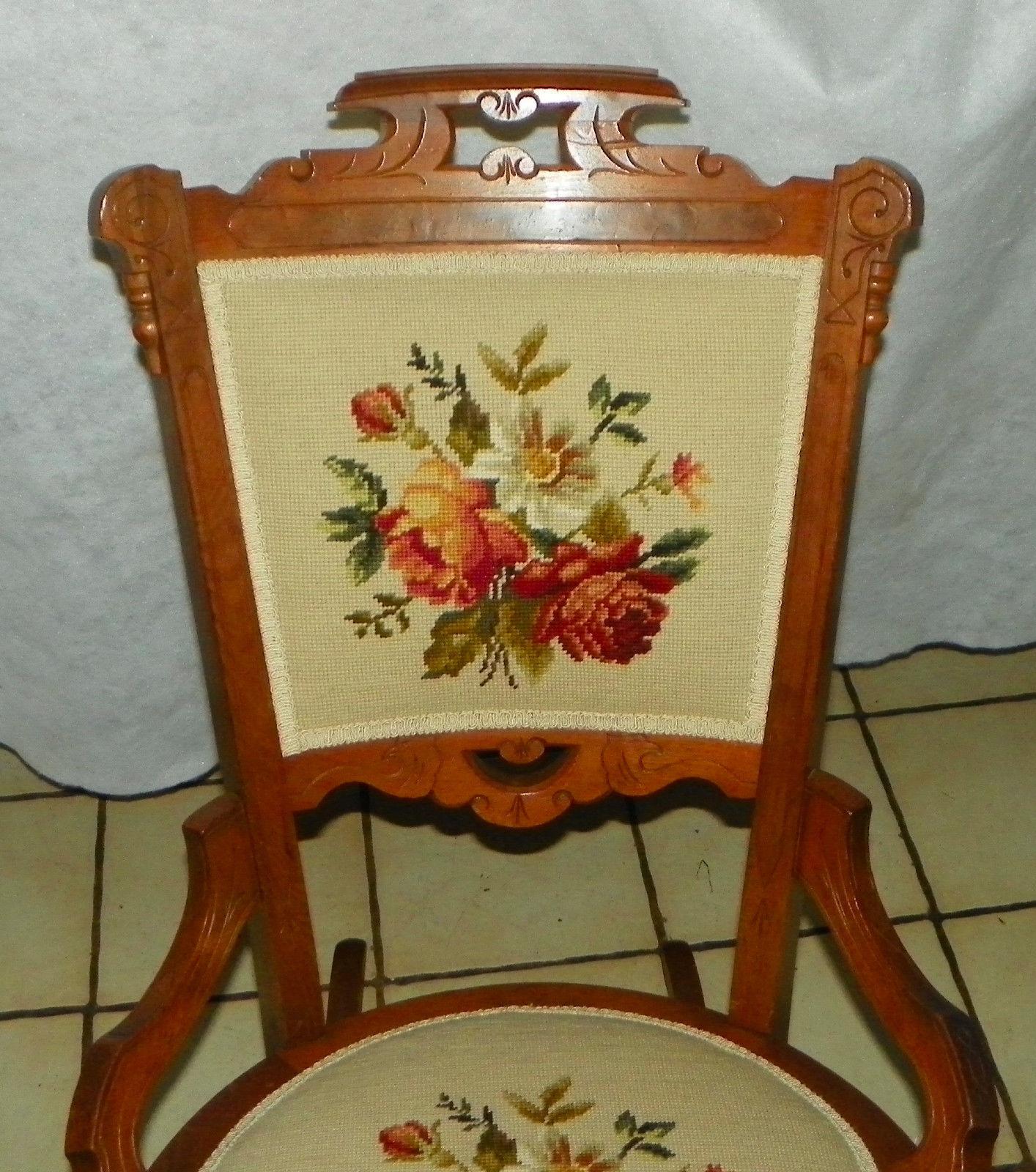 Walnut Carved Eastlake Sewing Rocker / Rocking Chair (BH) - Post-1950