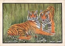 Bengal Tigers Painting Handmade Indian Miniature Wildlife Animal Waterco... - $149.99