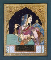 Tanjore Rajasthani Rani Painting Handmade Indian Thanjavur Wall Decor Go... - $219.99