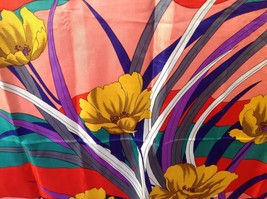 "BEAUTIFUL SILK SCARF Shawl Wrap Multicolored Floral Unbranded 34 x 34.5""... - $10.00"