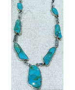 """Beautiful polished Turquoise necklace sterling silver blue 18""""-22"""" extender - $88.11"""