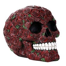 Decorative Ornate Red Roses Flower Skull Figurine Halloween Decor Collec... - £13.65 GBP