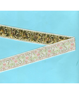 White Pastel Floral  Silky Woven Vintage Ribbon Craft Costume 1 and 1/2 ... - $5.99